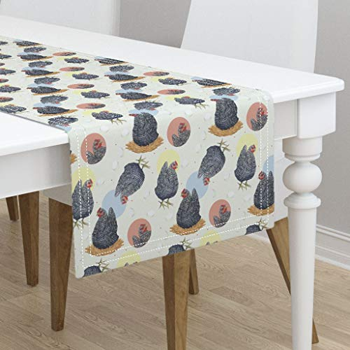 (Table Runner - Barnyard Chickens Plymouth Rock Hen House Farm Animals Plymouth Hen Chicken and by Karaskye - Cotton Sateen Table Runner 16 x 90)