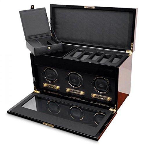 De los hombres Triple carrete para el reloj w/caja de almacenamiento estuche de viaje cubierta de vidrio Key Lock Custom...