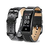 MIYA LTD Fitness Health Tracker Bracelet,Smart Bracelet Finess Tracker with Blood Pressure IP67 Waterproof Sleep Monitor Step Counter Pedometer for Women Men Kids - Black