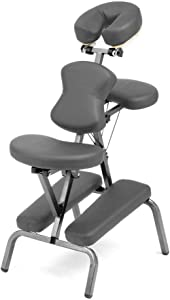 Ataraxia Deluxe Portable Folding Massage Chair w/Carry Case & Strap - Gray