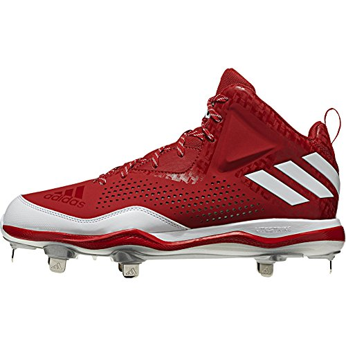 adidas Performance Herren PowerAlley 4 Mid Baseballschuh Power Rot-Weiß-Silber Met