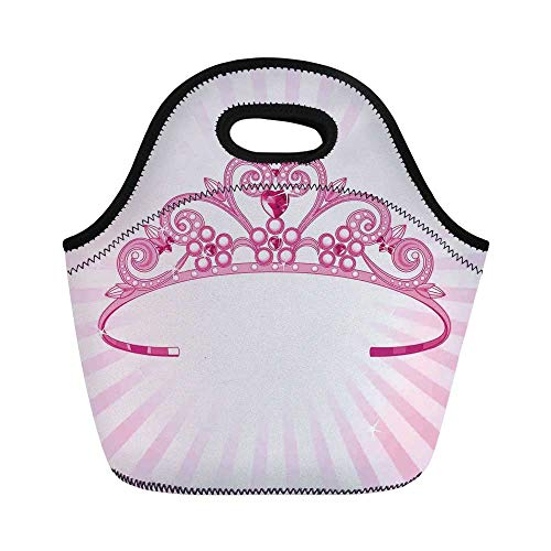 Kids Durable Lunch Bag,Beautiful Pink Fairy Princess Costume Print Crown with Diamond Image Art Decorative for School Office,11.0