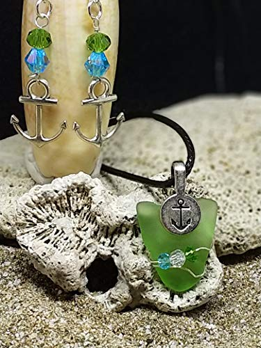 Claw Chartreuse - Chartreuse Green Beach Glass Pendant & 925 Sterling Silver Earring Ensemble with Anchor Motif and Aqua Accents