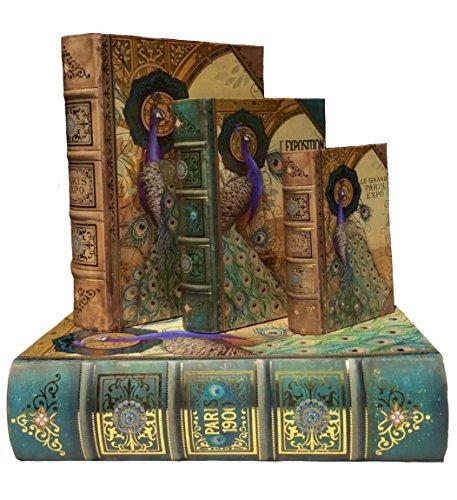 Punch Studio   Exposition Paris Peacock   Decorative Nesting Book Boxes   Set of 4