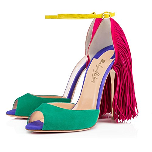 Knöchelriemchen Peep mit Sandalen Heels Fransen Stiletto Damen Toe Pumps Mehrfarbig High W0fwaxqp1