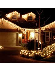 KNONEW LED Icicle Lights, 216 LEDs, 16.4ft, 8 Modes, String Fairy Light, LED String Light for Wedding Party/Christmas/Halloween/Party Backdrops + Cable Ties(Only UK)