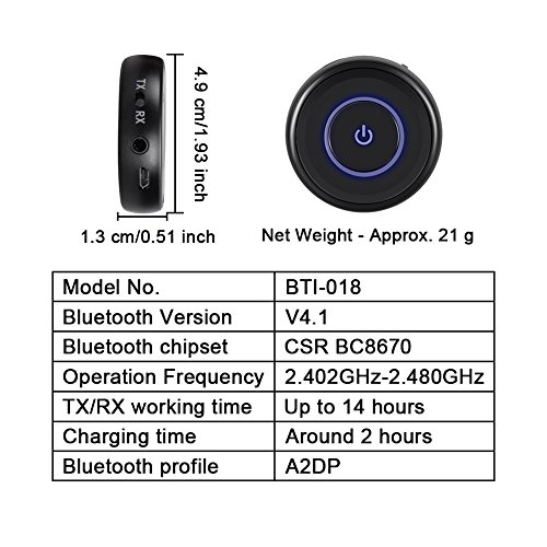Giveet Bluetooth V4.1 Transmitter and Receiver with aptX Low Latency, Wireless Bluetooth Audio Streaming Adapter for TV, PS4, XBOX, PC, Headphones, Home Sound Car Stereo Speaker with 3.5mm or RCA Jack by Giveet (Image #5)