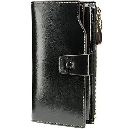 Itslife Women's RFID Blocking Large Capacity Luxury Wax Genuine Leather Cluth Wallet Card Holder Ladies Purse (Black RFID Blocking)