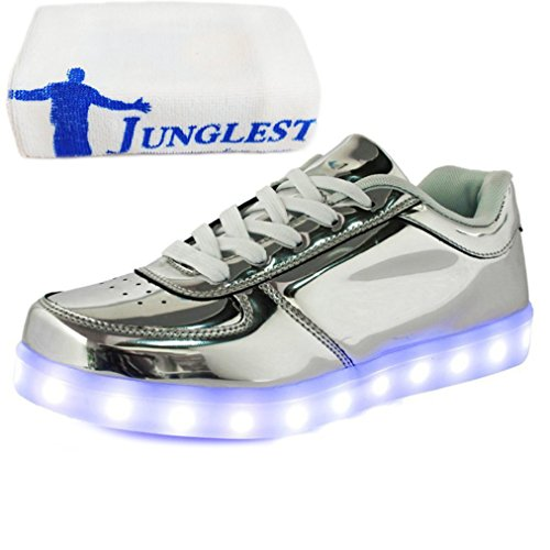 (Present:small towel)JUNGLEST 7 Colors Led Trainers Light Up Sh Silver