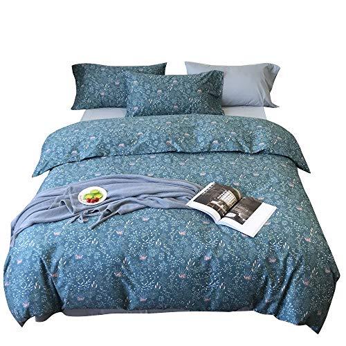 VM VOUGEMARKET Cotton Duvet Cover Set Queen,Floral Sea Grass Printed Bedding Set for Teens Girls,Blue Flower Comforter Cover with Zipper from VM VOUGEMARKET