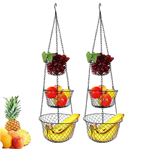 Hanging Baskets for Kitchen, 3 Tire Wire Hanging Basket for Storage of Fruits Veggies, Kitchen Storage Organizer, Set of 2, Black