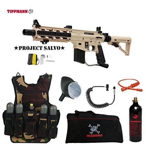 MAddog Tippmann U.S. Army Project Salvo Lieutenant Tactical Camo Vest Paintball Gun...