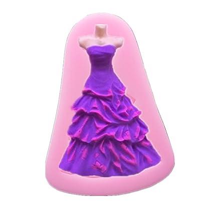 Herramienta de decoración Cupcake DIY para hornear 3D Princesa Vestido de Silicona Fondant Cake Moldes de
