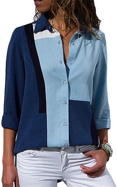 Blusa Moda Mujer Patchwork Camisa de Manga Larga Casual Suelta Turn Down Collar Ladies Tops: Amazon.es: Ropa y accesorios