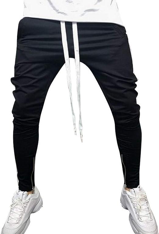 メンズカジュアルパンツ ズボン ヒップホップフィットネスフットジッパーステッチパンツカジュアルスウェットパンツ