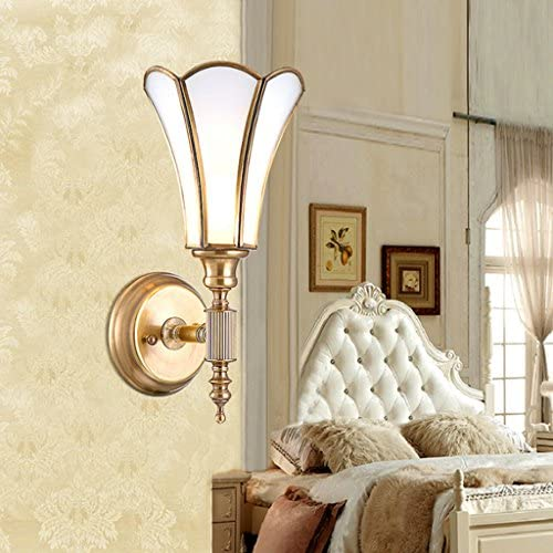 FHW American Pastoral Country Copper Single Head E27 Wall Lamp Bed Warm Lighting wall lamp