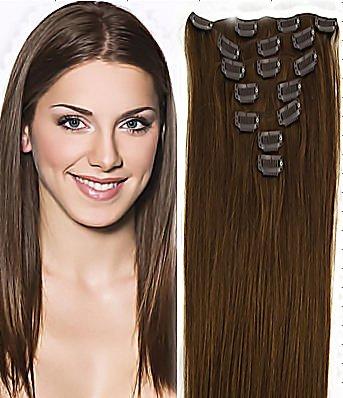 World Pride Модные прямой зажим в наращивание волос 18 дюймов 70 грамм № 6 каштановый