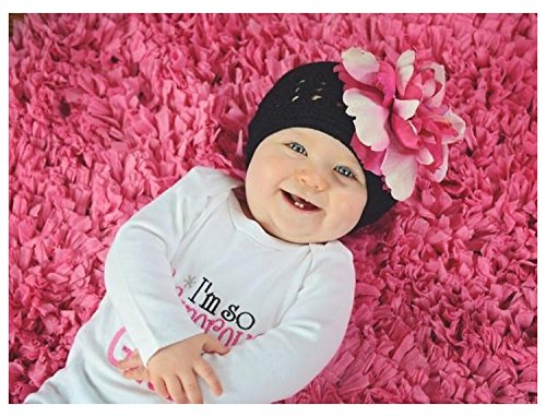 Black Crochet Hat with Pink Raspberry Large Peony, Size: 12-18m (Black Crochet Peony)