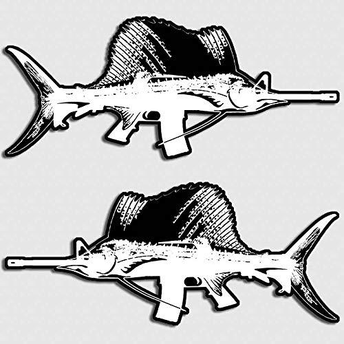 Ocean Decal Set - Aftershock Decals Swordfish Fishing Boat Sticker Marlin AR-15 Gun Rifle Marine Ocean Decal Set