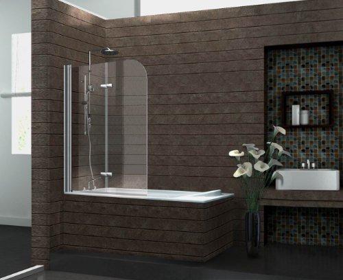 Duschtrennwand BREASE 120 x 140 (Badewanne): Amazon.de: Baumarkt | {Duschabtrennung glas badewanne 2}