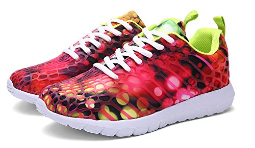 ECOTISH Unisex Fashion Camouflage Mesh Schuhe Casual Flat Sneaker Leichte Walking Athletic Schuh Breathable Laufschuhe (Tag Size 37 - UK Size 4, Rose Rot)