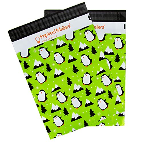 Inspired Mailers Poly Mailers 10x13 Penguins – Pack of 100 – Unpadded Shipping Bags