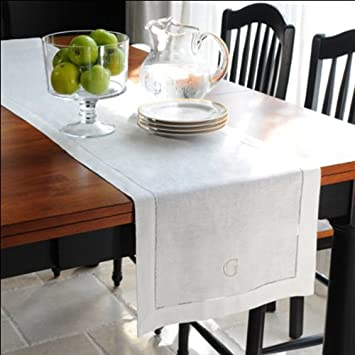 Loom State Pure Linen Hemstitch Table Runner White 14u0026quot; ...