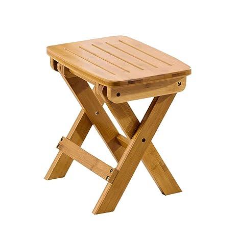 Amazon.com: Haolistore-chairs Taburete de bambú plegable ...
