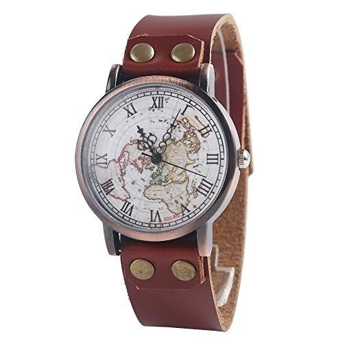 Unisex Watch Quartz Wristwatch World Map Leather Band 1 - 6