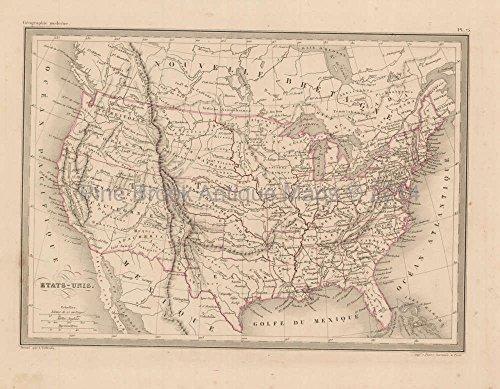 United States Antique Map Malte Brun 1850 Original American Decor History Gift Ideas