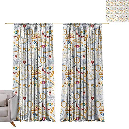 "Tr.G 54"" W x 63"" L Living Room Curtains Darkening and Thermal Insulating Drapes Pearls,Pattern with Accessories Diamond Rings and Earring Figures Image Digital Print,White Yellow"