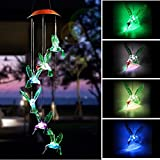 Daint Light Up Wine Chimes, Solar Color Changing Waterproof Six Hummingbird Wind Chime, Outdoor LED Decoration for Night in Your Party Garden (Hummingbird) For Sale