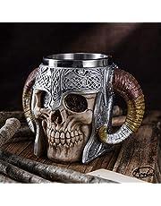 Stainless Steel Double Handle Horn Skull Beer Cup, Viking Warrior Skull Mug Tankard, Medieval Skull Drinkware Mug for Coffee/Beverage/Juice 17oz.