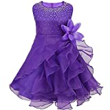 CHICTRY Baby Toddlers Girls Flower Dress Rhinestones Ruffle Baptism Birthday Party Bridesmaid Gown Purple 12-18 Months