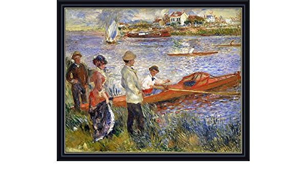 Amazon Com Renoir Oarsmen At Chatou 1879 Canvas Art Print Reproduction Framed With 2 6 Wide Black Frame And Gold Edge 22 9x28 In 58x71 Cm Paintings Posters Prints