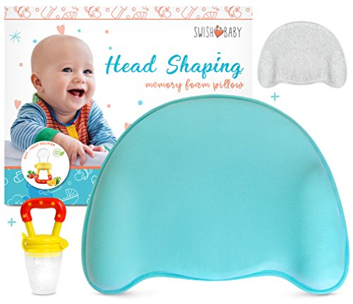 Swish Baby Flat Head Pillow for Sleeping - Head Shaping Memory Foam Pillow for Newborn w/ 2 Breathable Cotton Pillowcases (Blue)