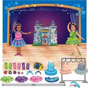 Little Folk Visuals Felt Fun: Ballerina Precut Flannel/Felt Board Figures with 13x15 Inches Mounted Playboard, 28 Pieces Set