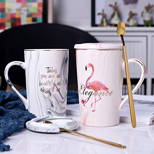 JOEJISN Flamingo Coffee Mugs Set with Golden Spoon Nordic Style Mugs Retro Royal Tea Mug Top-quality Morning Mug Milk Mug for Wedding Valentine Gifts - Ceramic Marble 14 oz Comes in a Gift Box