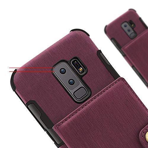YHUISEN Funda de cuero plegable de la PU del folio del tirón del caso de la cartera de la cartera de las ranuras multi-tarjeta de las mujeres cubierta protectora a prueba de choques para Samsung Galax Beige