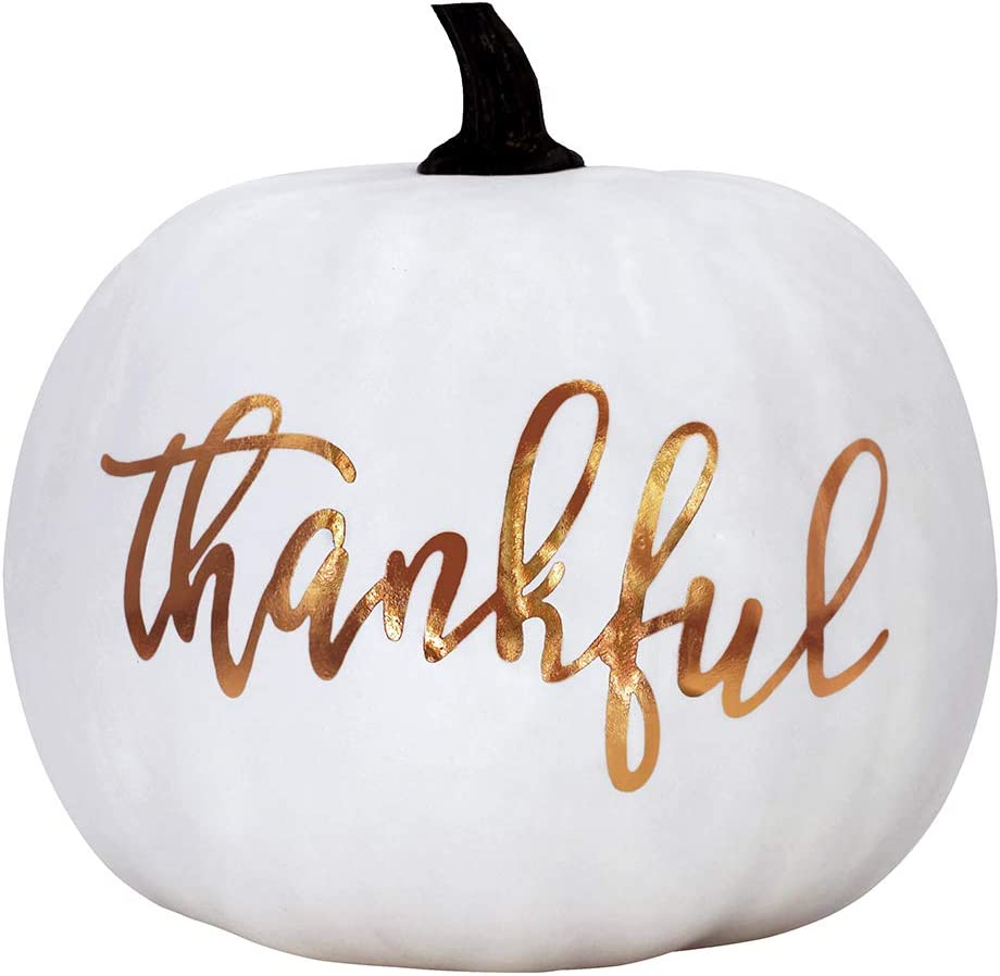 "BESTTOYHOME 1Pcs 8"" Large White Pumpkin, Gold Lettering White Pumpkin, Cream Pumpkin, Craft Pumpkin, Thanksgiving Pumpkin Decor, Fall Pumpkin Decor"