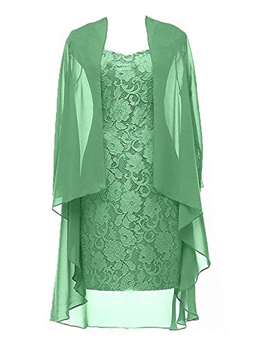 Dannifore 2 Pieces Deep Mint Lace Mother Of The Bride Dress With