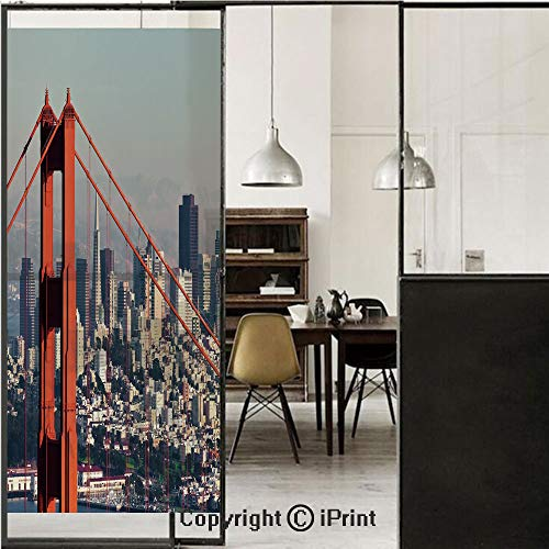 United States 3D Decorative Film Privacy Window Film No Glue,Frosted Film Decorative,San Francisco Bridge and Cityscape Metropolis Financial District,for Home&Office,23.6x59Inch Orange Baby Blue White