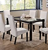 Cheap Kings Brand Rectangle Cappuccino Finish Wood With Glass Dining Kitchen Dinette Table