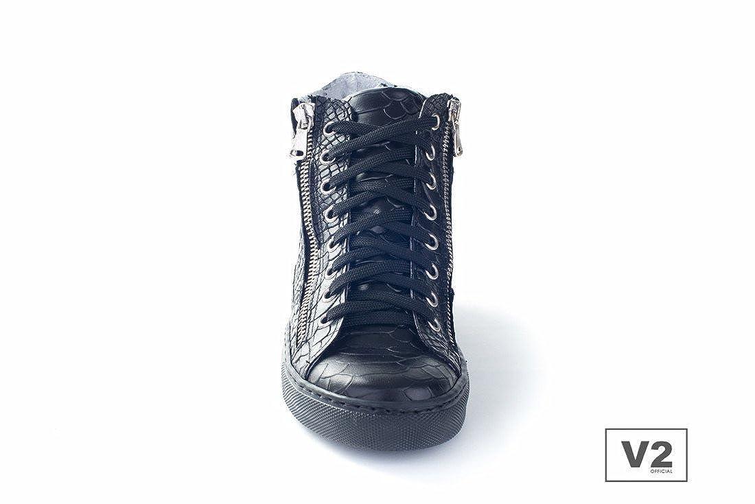 9fd4aff83f47b5 V2 Sneakers Mod.Z1500 Mixte-Cuir Croco Noir-FABRIQUÉ en Italie - Noir - Noir,  44 - IT Unisex EU: Amazon.fr: Chaussures et Sacs
