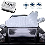 Datitiger Car Windshield Snow Cover Sun Shade Car Snow Cover for SUV Car Window Front Reflector Windshield Silver Front and Black Back Keeps Vehicle Cooler with Storage Pouch