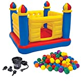 Intex Inflatable Jump-O-Lene Ball Pit Castle Bouncer with Air Pump & Plastic Balls by Intex