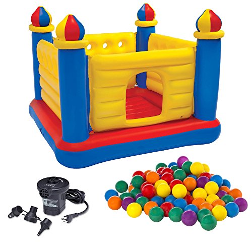 Intex Kids Inflatable Jump-O-Lene Ball Pit Castle Bouncer w/ Air Pump & Balls