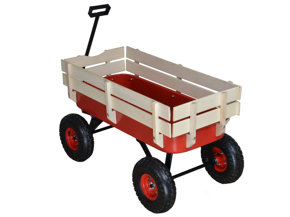 TMS Outdoor Wagon All Terrain Pulling w/Wood Railing Air Tires Children Kid Garden by TMS (Image #5)