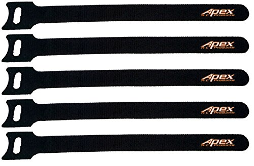 5 PACK 12.5mm x 200mm Straps for Lipo Battery - Apex RC Products #3060 (Strap Velcro Battery)