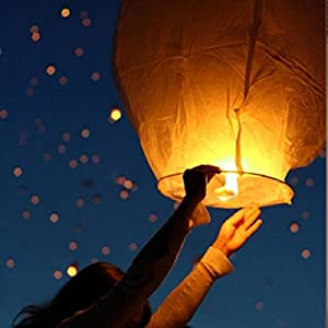 50 PCS || White flying Chinese Paper Lanterns Sky Fire Fly Candle Lamp for Wish Wedding || White color || Make a wish and release into the sky || by ★★★ Royal ♛ Shop ★★★